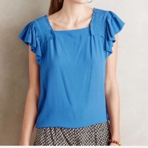 Anthropologie Maeve Flutter Sleeve Top Blue 4 NWT